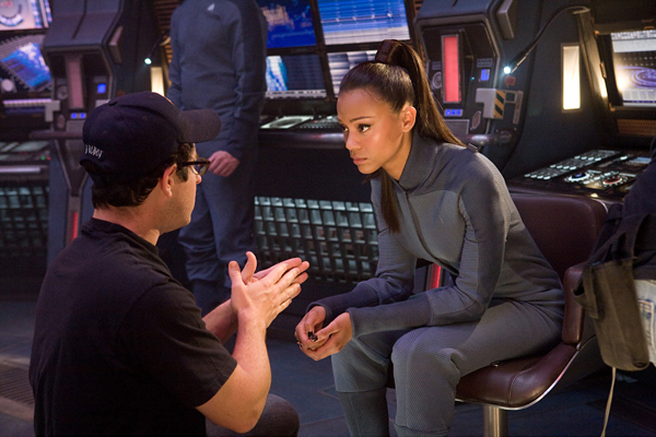 Abrams with Saldana on the New Trek set.